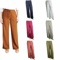Ex M&S Marks And spencer Linen Rich Beach Wide Leg Trousers
