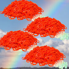 DIY Loom Refill Rubber ORANGE Band Bracelet Kid Craft 2400 Bands w/ 100 S Clips