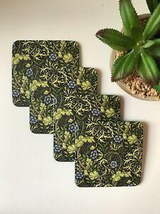 William Morris Green Seaweed Art Print PU leather Coaster,Birthday,Home decor