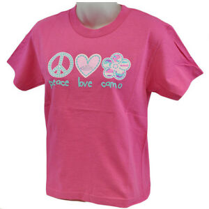 Team RT Realtree PLC Peace Love Camo Outdoors Flower Tshirt Youth Girls Large LG