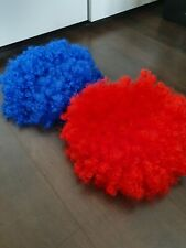 Two Big Fluffy Clown Wigs, One Red One Blue
