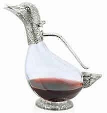 Duck Decanter Pair Silver Plated Glass Water Wine Jug Carafe Pitcher Boxed 2