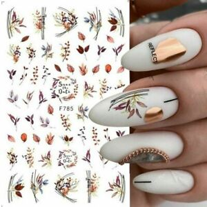 Nail Art Stickers Decals Autumn Winter Fall Flowers Floral Fern Leaf Leaves F785