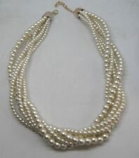 Gorgeous Multi strand Glass Pearl Beaded Choker Necklace with Lobster Clasp