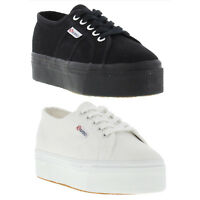 Superga 2790 Linea Womens Black White Platform Trainers Shoes