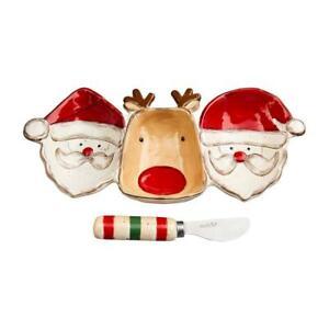 Farmhouse Christmas Santa Reindeer Triple Divided Dish Spreader Set