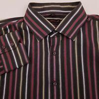 Ben Sherman Men's Button Up Shirt Size Large Long Sleeve Striped Gray Pink