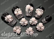 #EA007  10pcs 3D Alloy Jewelry Nail Art Decoration White Rose Glitter Rhinestone