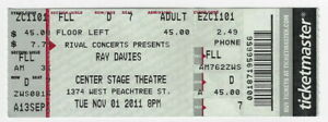 RAY DAVIES Used Concert Ticket / Atlanta CENTER STAGE : November 1, 2011 !!