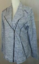 Chicos zenergy Womens size 1 Asymmetrical Full Zip Jacket Cotton navy white EUC