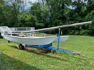 """1975 Coastal Catamaran Hobie Cat 16'7"""" Sailboat & Trailer - Ohio"""