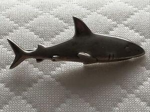 Solid Silver Shark Brooch