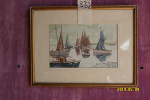 Watercolour Painting Yachts on Water. Signed.