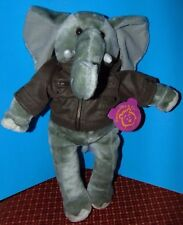 "Elephant Pawsenclaws w/flight jacket Plush 17""- 18"" sooo CUTE! Stuffed"