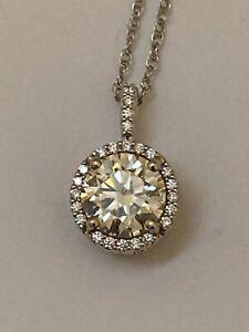 Diamond Halo Pendant Necklace Moissanite Center 14K White Gold