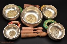 NEPALESE HAND MADE SILVER 5 CHAKRA COMPLETE SET SINGING BOWL WITH AMAZING SOUNDS