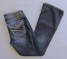 Silver Jeans Pioneer Boot Cut 28 31 Dark distressed Thick Stitch Stretch Denim