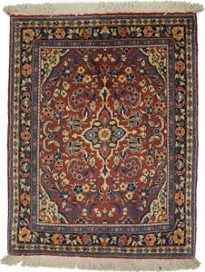 Vintage Orange-red Floral Classic 2X3 Small Oriental Rug Handmade Wool Carpet