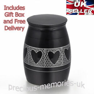 Black Hearts Mini Cremation Ashes Urn - Funeral Memorial Keepsake with Gift Box