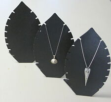 3 x 24cm BLACK ACRYLIC LEAF SHAPED NECKLACE CHAIN JEWELLERY DISPLAY STANDS RACKS