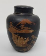 Vintage Signed Japanese Tea Caddy Tin can  Hand Painted.