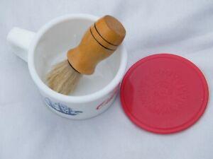 Vintage Milk Glass OLD SPICE Shaving Mug w/Brush Ship-Grand Turk Salem-1786