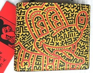 COACH DISNEY HARING MICKEY MOUSE DOUBLE BIFOLD WALLET:NWT RED/MULTI 5221