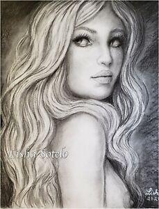 Original Nude Woman Pencils/Charcoal Drawing By Lisha Sotelo lishasdreams