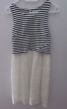 Forever New Piper Lace Stripe Dress Navy/ White Jersey Overlay Size 8