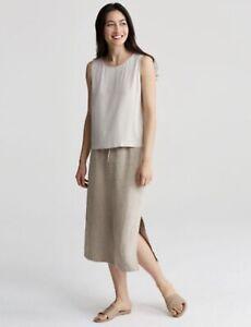 Eileen Fisher Womens Organic Linen Straight Midi Skirt BNWTS Size XL