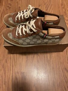 WORN🔥 GUCCI Supreme Monogram GG Sneakers Men's G 10 White - Beige