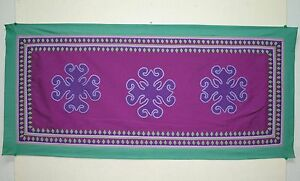 HMONG HAND EMBROIDERED APPLIQUE' MASTERPIECE TABLE CLOTH RUNNER PURPLE(#202)