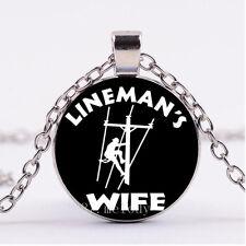 NEW Cabochon Glass necklace Silver/Bronze/Black pendant(Lineman's Wife