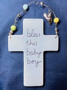 "Sandra Magsamen Wall Plaque Cross ""Bless This Baby Boy"" Blue Nursery Decor"