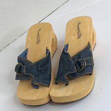 Skechers Something' Else Womens Sz 8 Wedge Sandals Denim Adjustable Buckle Shoes