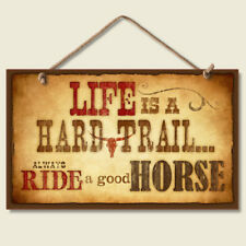 Western Lodge Cabin Decor Life Is A Hard Trail  Wood Sign With Braided Rope Cord