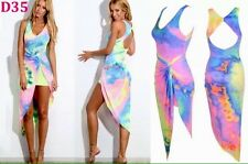 Rainbow Tie Die Hippy Dress Festival Beach Boho Rave Cyber Punk Fluorescent