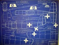 WW2 Messerschmitt BF-109 Vintage Flying Model Blueprint Plan 1944 22x28  (254)