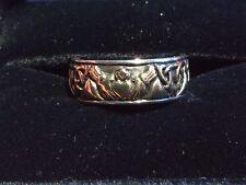 Gold Over Sterling Wedding Band Peter Stone~Claddagh Celtic Ring~14K Antiqued