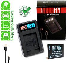 LCD USB Ladegerät + LOOKit BLG10 für Panasonic Lumix TZ202 TZ91 TZ81 TZ101 GX80