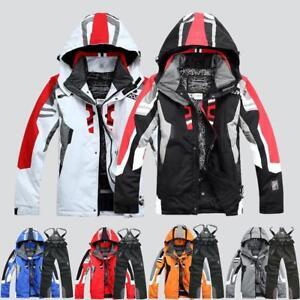 Men's Winter Ski Suit Jacket Waterproof Hood Coat Pantsuits Snowboard Snowsuits