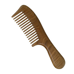 Green Sandalwood Curly Straight hair Comb Wide Tooth