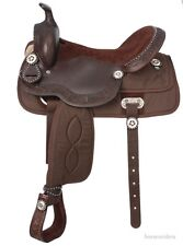 18 Inch Western Trail Saddle - Synthetic Krypton and Brown Leather with Silver