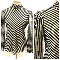 Vintage VTG 1980s 80s St John Black Metallic Stripe Sheer Long Sleeve Top Blouse