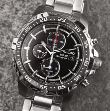 SEIKO SOLAR MENS WATCH CHRONOGRAPH ALARM SSC299P1 BLACK DIAL SSC299 WITH BOX