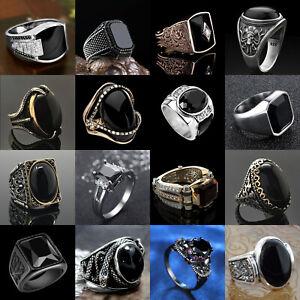Fashion Men Women 925 Silver Jewelry Wedding Rings Black Sapphire Gift Size 6-13