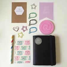 BN kikki-k 2015 LEATHER TIME PLANNER small: BLACK + Dashboards, Paper Clips,(B)