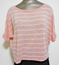 Lush Peach White Stripes Small Scoop Neck Dolman Sleeve Hi Lo Hem  Sweater