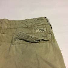 Abercrombie & Fitch Cargo Shorts Size 30 Distressed Heavy Khaki Flat Front