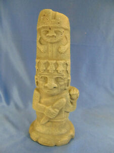 "Unique Mayan Inca totem figurine pottery 10"" tall cultural ethnic museum art"